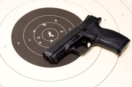 Hand gun and target.